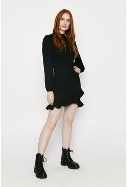 Black Ponte Frill Shift Dress