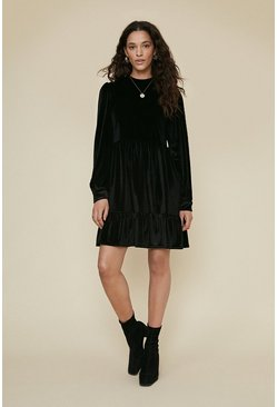 Black Velvet Tiered Smock Mini Dress