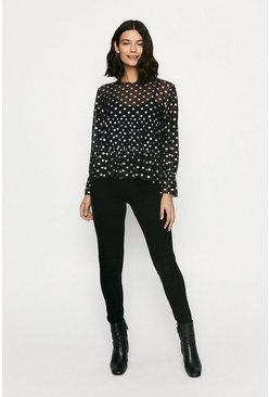 Black Foiled Spot Mesh Tiered Blouse