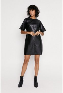 Black Faux Leather Shift Dress