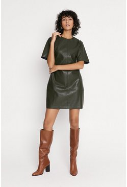 Green Faux Leather Shift Dress