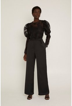 Black Satin Back Wide Leg Trouser