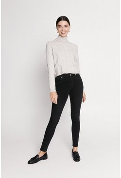 Washed Black Mid Rise Skinny Jean