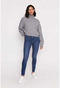 Mid Wash High Rise Skinny Jean