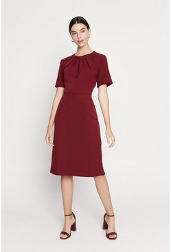 Burgundy Pleated Short Sleeve Midi Dress