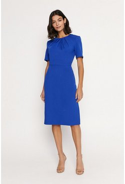 Cobalt Pleated Short Sleeve Midi Dress
