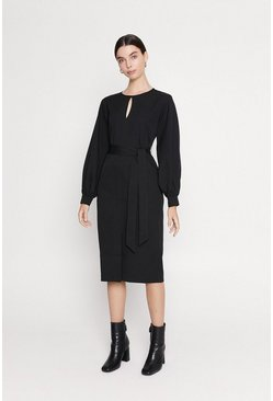 Black Keyhole Tie Midi Dress