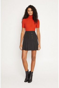 Black Button Front Pleated Skirt