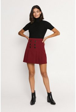 Burgundy Button Front Pleated Skirt