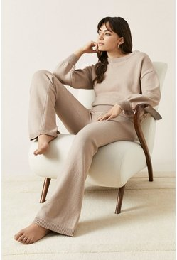 Camel Flared Knitted Loungewear Set