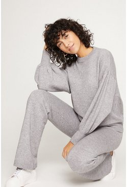Grey Flared Knitted Loungewear Set