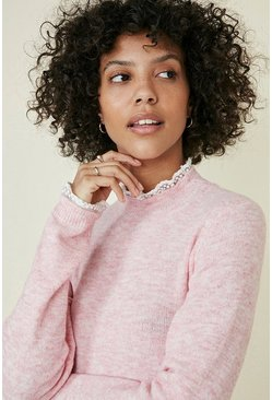 Pink Frill Neck And Cuff Jumper