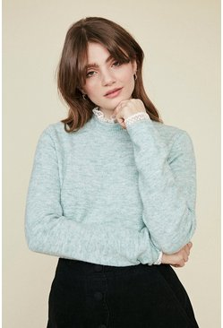 Sage Frill Neck And Cuff Jumper