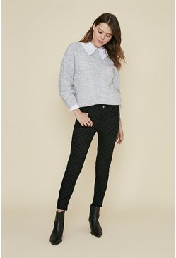 Black Spot Flocked Skinny Jeans