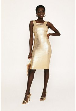 Gold Metallic Strappy Bandage Dress