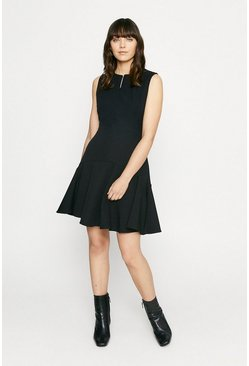 Black Zip Through Dress