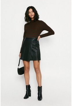 Black Faux Leather Wrap Mini Skirt