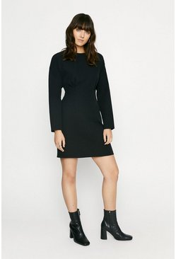 Black Pintuck Waist Dress