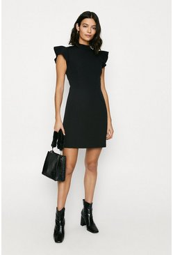 Black Ruffle Sleeve Workwear Dress