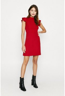 Red Ruffle Sleeve Workwear Dress