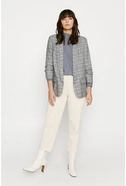 Mono Check Ruched Sleeve Jacket