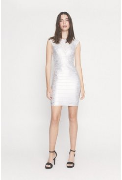 Silver Metallic High Neck Bandage Dress