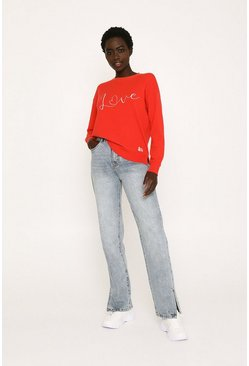 Red Love Embroidered Knitted Jumper