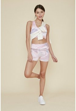 Baby pink Marble Print Sports Short