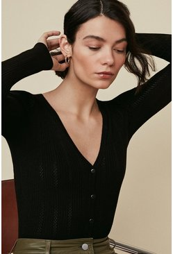 Black Pointelle Fine Gauge Cardigan