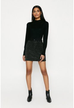Black Sparkle Denim Mini Skirt