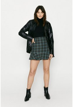 Blue Tweed Check Flippy Skirt
