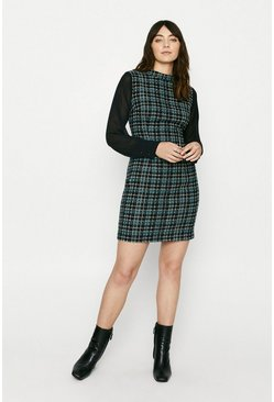 Blue Check Tweed 2 In1 Dress