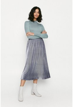 Blue Glitter Velvet Pleated Midi Skirt