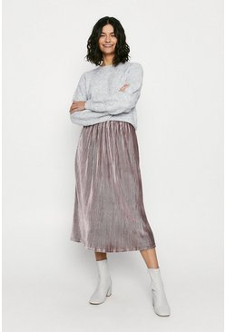 Pink Glitter Velvet Pleated Midi Skirt