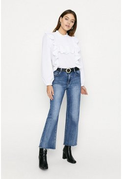 White Cotton Shirred Yoke Poplin Blouse