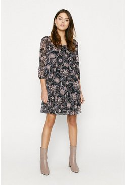 Black Paisley Print Floral Dress