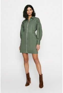 Khaki Structured Zip Through Dress