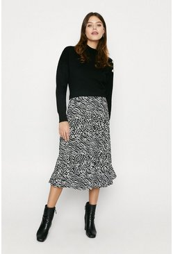 Black Print Pleated Midi Skirt