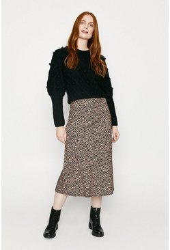 Animal Printed Bias Midi Skirt