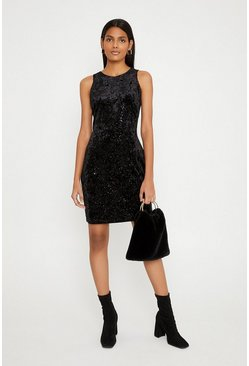 Black Glitter Velvet Racer Bodycon Dress