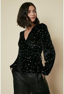 Black Velvet Star Embellished Wrap Top