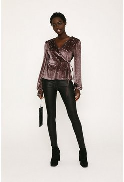 Purple Velvet Star Embellished Wrap Top