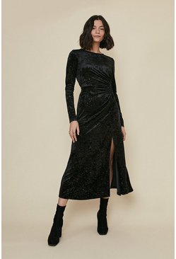 Black Glitter Velvet Ruched Midi Dress