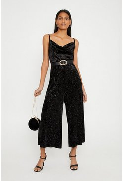 Black Glitter Velvet Cowl Neck Wide Leg Jumpsuit