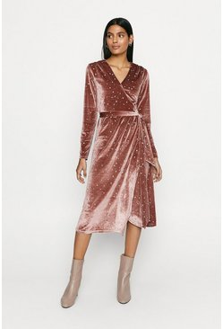 Pink Velvet Wrap Star Embellished Midi Dress