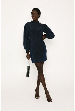 Navy Glitter Shirred Shift Dress