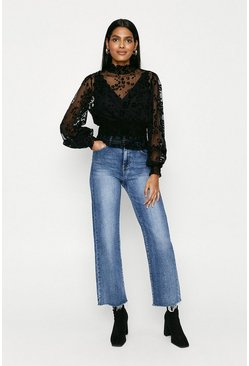 Black Animal Mesh Shirred Top
