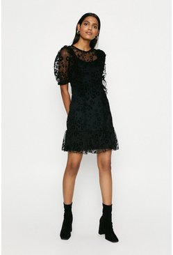 Black Animal Mesh Frill Dress