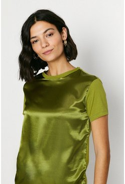 Green olive Satin Front T Shirt