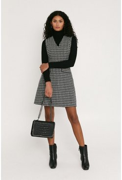 Blackwhite Mono Tweed Skater Dress